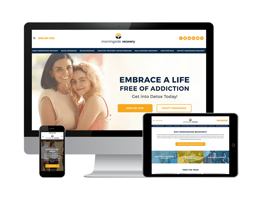 An example of Addiction Treatment Center Marketing and addiction treatment marketing services on Morningside Recovery